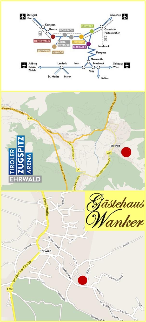 anreise gästehaus wanker pension ehrwald